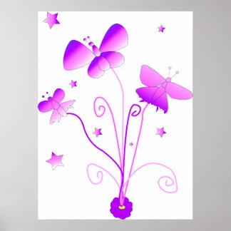 Mariposas con el poster de la flor