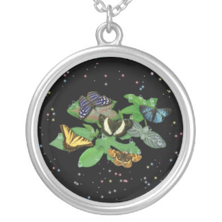 Mariposas con hojas, gota de lluvia, estrella collar plateado