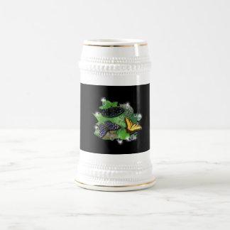 Mariposas con hojas, gota de lluvia, estrella jarra de cerveza