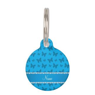 Mariposas conocidas personalizadas del azul de identificador para mascotas