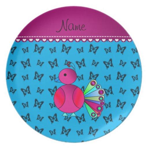 Mariposas conocidas personalizadas del azul de plato
