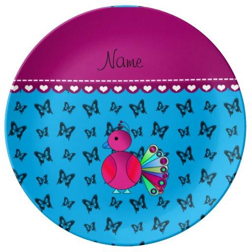 Mariposas conocidas personalizadas del azul de plato de cerámica