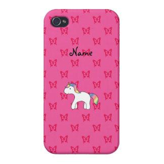 Mariposas conocidas personalizadas del rosa del iPhone 4 protector
