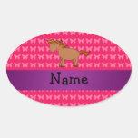 Mariposas conocidas personalizadas del rosa del colcomanias ovaladas personalizadas