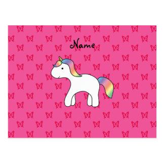 Mariposas conocidas personalizadas del rosa del un tarjetas postales