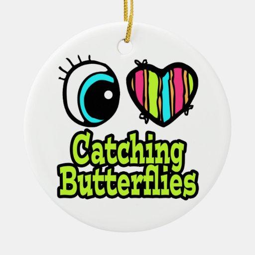 Mariposas de cogida del ojo del amor brillante del adorno redondo de cerámica