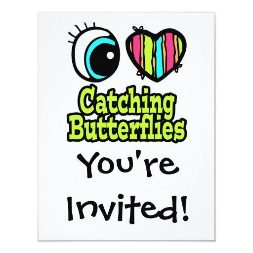 Mariposas de cogida del ojo del amor brillante del invitación 10,8 x 13,9 cm
