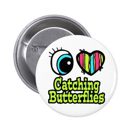 Mariposas de cogida del ojo del amor brillante del pin redondo 5 cm