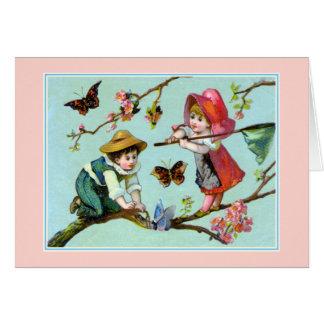 Mariposas de cogida - niños del Victorian Tarjeta De Felicitación