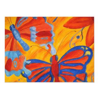 Mariposas de la acuarela invitación 13,9 x 19,0 cm