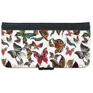 Mariposas de la apariencia vintage funda cartera para iPhone 6