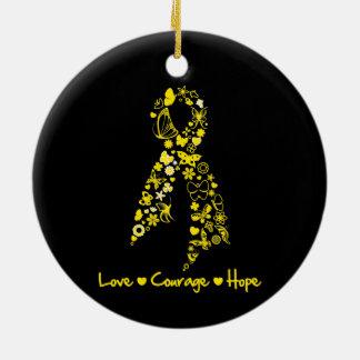 Mariposas de la esperanza del valor del amor de la adorno navideño redondo de cerámica