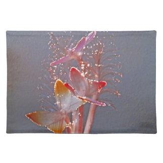 Mariposas de la fibra óptica que brillan intensame mantel individual