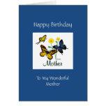 Mariposas de la madre del feliz cumpleaños tarjeta