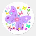 ¡Mariposas de la primavera, tiempo de primavera! Pegatina Redonda