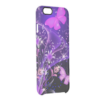 Mariposas de la púrpura de los pares funda clearly™ deflector para iPhone 6 de uncommon