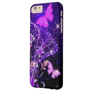 Mariposas de la púrpura de los pares funda para iPhone 6 plus barely there
