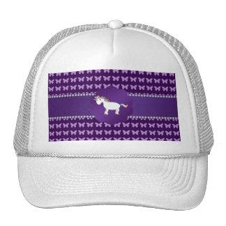 Mariposas de la púrpura del unicornio gorras