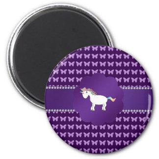 Mariposas de la púrpura del unicornio imán redondo 5 cm