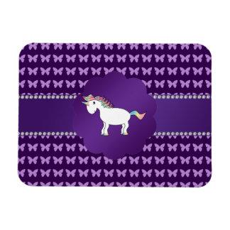 Mariposas de la púrpura del unicornio iman rectangular