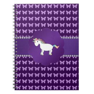 Mariposas de la púrpura del unicornio libretas espirales
