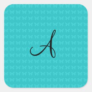 Mariposas de la turquesa del monograma pegatina cuadrada