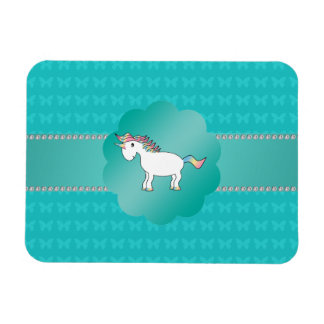 Mariposas de la turquesa del unicornio imanes rectangulares