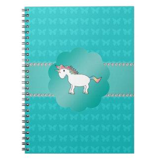 Mariposas de la turquesa del unicornio spiral notebook
