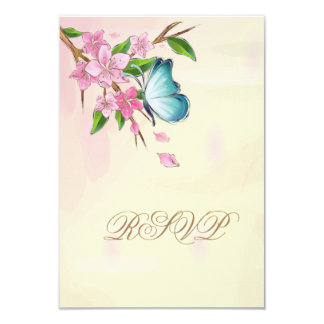 """Mariposas de las flores de cerezo de la acuarela invitación 3.5"""" x 5"""""""