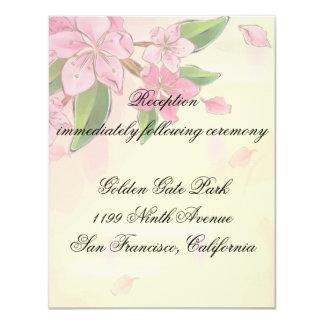 """Mariposas de las flores de cerezo de la acuarela invitación 4.25"""" x 5.5"""""""