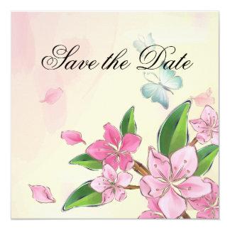 """Mariposas de las flores de cerezo de la acuarela invitación 5.25"""" x 5.25"""""""