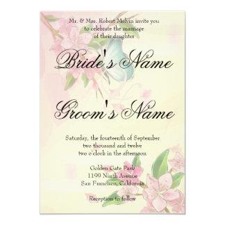 """Mariposas de las flores de cerezo de la acuarela invitación 5"""" x 7"""""""