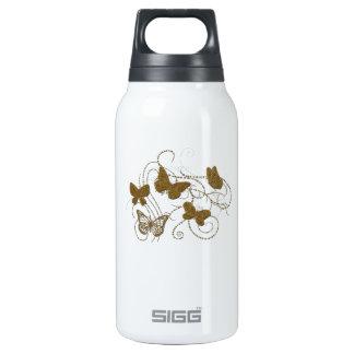 Mariposas de oro con remolinos de oro botella isotérmica de agua