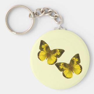 Mariposas de oro preciosas llavero redondo tipo pin