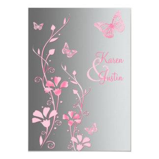 """Mariposas de plata y rosadas que casan la invitación 5"""" x 7"""""""