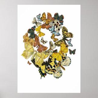 Mariposas Decoupage del vintage Poster