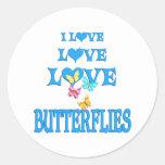 Mariposas del amor del amor etiquetas redondas