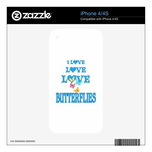 Mariposas del amor del amor iPhone 4 calcomanías