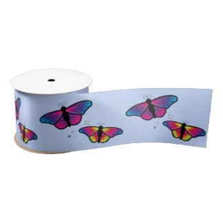 Mariposas del arco iris 3 pulgadas lazo de raso