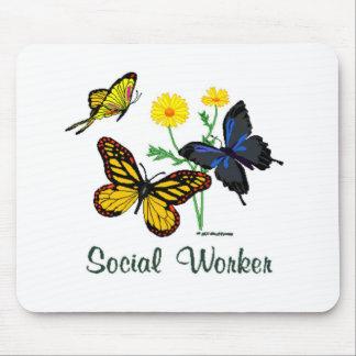 Mariposas del asistente social alfombrilla de raton