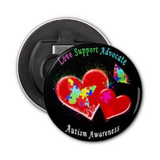 Mariposas del autismo en corazones abrebotellas redondo
