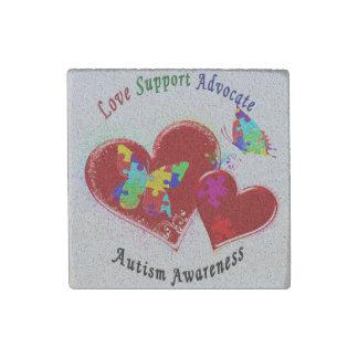 Mariposas del autismo en corazones imán de piedra
