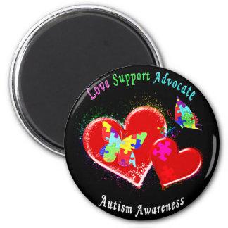 Mariposas del autismo en corazones imán redondo 5 cm