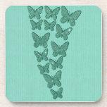 Mariposas del brillo de la verde menta posavasos de bebida