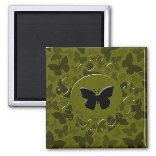 Mariposas del camuflaje imán cuadrado