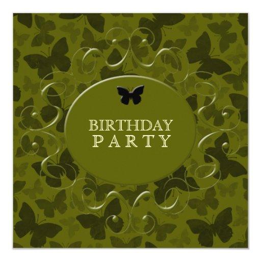 """Mariposas del camuflaje invitación 5.25"""" x 5.25"""""""