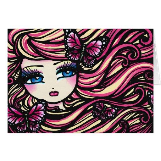 Mariposas del chica de la hada de la fantasía del  tarjeta