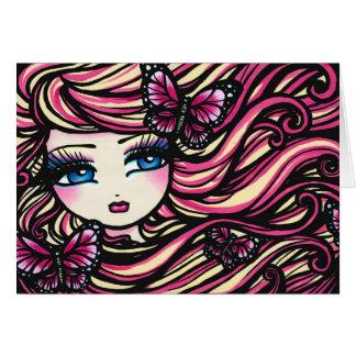 Mariposas del chica de la hada de la fantasía del tarjeta de felicitación