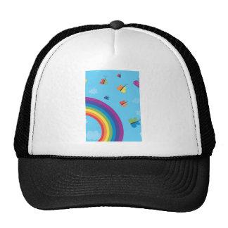 Mariposas del cielo del arco iris gorros bordados
