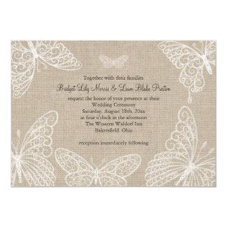 Mariposas del cordón en la invitación 2 del boda invitación 12,7 x 17,8 cm